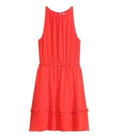 Knee-length, sleeveless chiffon dress  | H&M Modern Classics