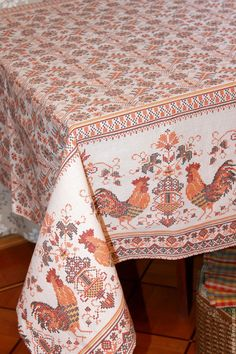 """Купить Скатерть  """"Петушок золотой гребешок"""" - оранжевый, скатерть, скатерть на стол, скатерть ручной работы"""