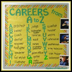 of the Year Bulletin Boards and Decorated Doors Bulletin Board: Careers A to Z via RainbowsWithinReachBulletin Board: Careers A to Z via RainbowsWithinReach Counselor Bulletin Boards, College Bulletin Boards, Counselor Office, College Board, Guidance Bulletin Boards, Elementary School Counseling, School Social Work, Career Counseling, Career Education