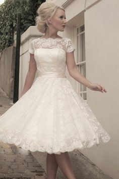 Capped Sleeves Scalloped Bateau Knee-length Lace Wedding Dress - Shedressing.com $199