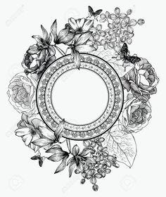 black and white flower illustration - Pesquisa Google