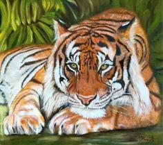 313b3be3fe3aa ARTFINDER: Sheba by Olga Koval - Indian Tiger in banana grass . Original  oil painting