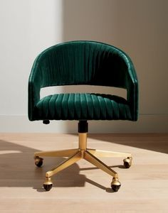 It's all happening – your to-do list, that is. Designed by Mark Daniel of Slate Design, rich dark green velvet office chair with pleated channels sits atop brus Velvet Office Chair, Best Office Chair, Home Office Chairs, Home Office Decor, Office Furniture, Velvet Chairs, Furniture Stores, Office Ideas, Vintage Office Chair