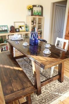 Farmhouse table plans & ideas find and save about dining room tables . See more ideas about Farmhouse kitchen plans, farmhouse table and DIY dining table Farmhouse Dining, Diy Furniture, Dining, Dining Table, Diy Farmhouse Table, Barn Table, Home Diy, Dining Room Table, Pottery Barn Table