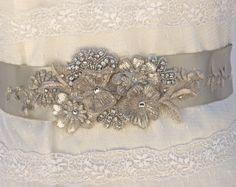 Bridal Sash, Wedding Sash in Platinum And Silver With Crystals And Rhinestones…