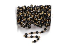 1 yard Black Crystal Rosary Chain, gold, 6mm round faceted crystal beads, fch0217 by SmartParts on Etsy