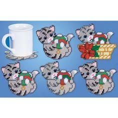 Mary Maxim - Cat Coasters and Holder Plastic Canvas Kit - Plastic Canvas Kits - Plastic Canvas - Crafts