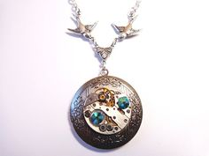 Steampunk Vintage Watch Movement Locket Necklace by Treasurebay, $42.00