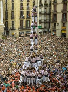 Human tower at La Merce Festival.