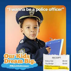 This little dreamer never, EVER breaks the law. He understands that rules are rules and must be followed at all times – Hey you! Slow down! Do you have a little dreamer at home that wants to protect and serve the community? #MyLittleDreamer  For more information, see http://hubs.ly/H03wvl30 (Note: Final tuition is a calculation based on historical figures. Full disclosures to be found at http://hubs.ly/H03wvl40)  #MyLittleDreamer #canada #canadianbaby #contests #mommy #yyz #yvr #win…
