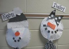 Snowman Project - list adjectives to describe snowmen on the back of the plate