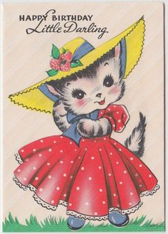 "Vintage Greeting Card Cat Wearing Hat, ""Happy Birthday Little Darling"" - Gibson 1940s"
