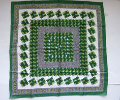 Vintage Scarf by Creation Vincent - Italy - Retro Mod Green White Crosses EUC