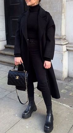 Casual Winter Outfits, Winter Fashion Outfits, Classy Outfits, Look Fashion, Trendy Outfits, Fall Outfits, Outfits For Work, All Black Outfit For Work, All Black Outfits For Women