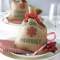 These sacks will be as lovely as anything your choose to put in them. personalised mini christmas sack by harrow & green | notonthehighstreet.com