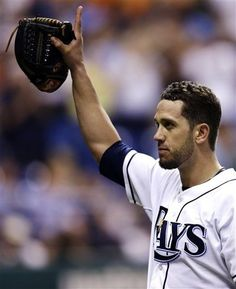 Tampa Bay Rays starting pitcher James Shields waves to the fans after striking out Baltimore Orioles' J.J. Hardy for his 15th during the ninth inning of a baseball game, Tuesday, Oct. 2, 2012, in St. Petersburg, Fla. The Orioles won 1-0.