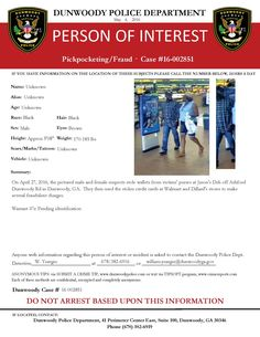 If you have any information on this case or can identify either of these suspects, please contact Det. Yeargin: 678/382-6916 or william.yeargin@dunwoodyga.gov.  #dunwoodypolice