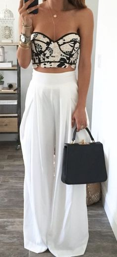 Resort wear. Cute strapless top with baggy white pants. Stitch Fix Spring/summer 2017 inspirations. Ask your stylist for something like this. Click on the picture to fill out your style profile. #sponsored