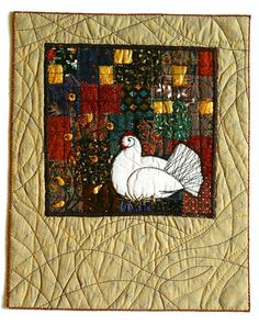 (via The Textile Cuisine: Illuminated Hen / Kura Iluminowana) Medieval Manuscript, Embroidery Applique, Textile Art, Home Art, Fiber Art, Framed Artwork, Rooster, Art Pieces, Textiles
