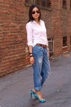 Boyfriend jeans + heels + white button down = that's so '90's