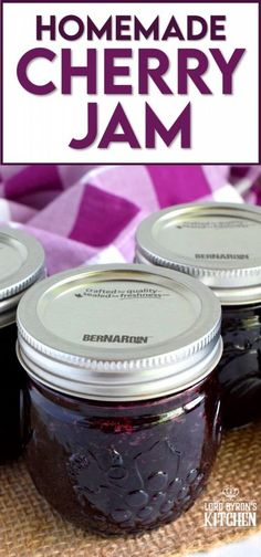 Easy to prepare cherry jam; all you need is cherries, sugar, and lemon juice! Oh, and patience - like in all good things! #cherry #jam #recipe #preserves #rainer #bing #cherries Cherry Jam Recipes, Jelly Recipes, Real Food Recipes, Easy Desserts, Delicious Desserts, Dessert Recipes, Yummy Food, Drink Recipes, Canning Recipes