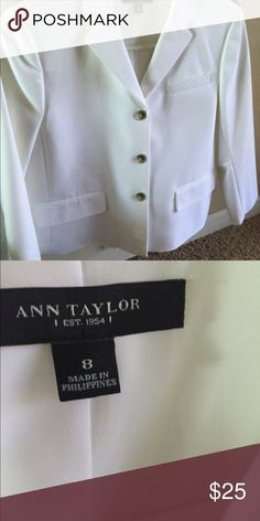 Ann Taylor white shirt suit jacket Super cute in perfect condition , short style at waist length Ann Taylor Jackets & Coats Blazers