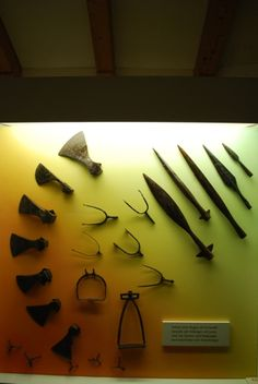 Axe and spear heads of the Viking age, displayed at the Viking Museum of Haithabu.