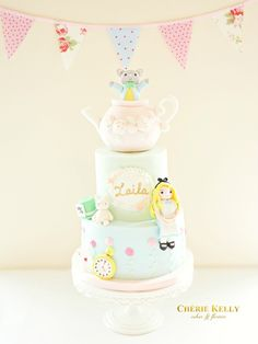 Alice in Wonderland Theme Teapot Madhatter Pastel Birthday Party Cake Table Cherie Kelly London