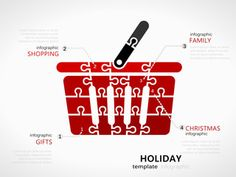 Christmas holiday infographic template with red shopping basket symbol made out of jigsaw pieces Winter Light, Infographic Templates, Royalty Free Images, Making Out, Christmas Holidays, Basket, Clip Art, Symbols, Creative