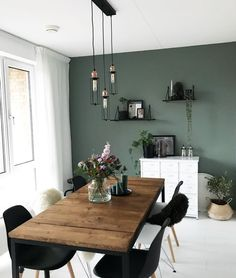 gorgeous sage green feature wall