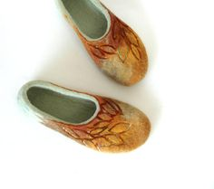 Hand felted slippers Golden Autumn brown yellow green by jurgaZa, $69.00