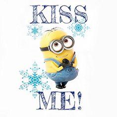 Minions Kiss Me Camiseta Mujer Blanco L #camiseta #starwars #marvel #gift