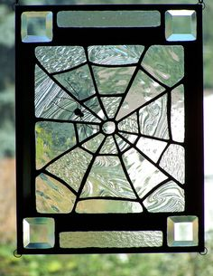 holloween stainglass | Halloween Stained Glass Spiderweb Panel Suncatcher by SujuGlassArt