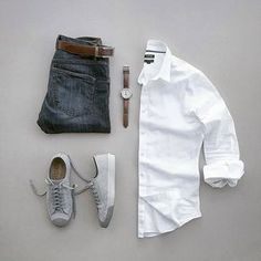 Are you wondering how to wear white sneakers for men or how to look sharp in simple jeans and casual shirt outfits? Then this 30 coolest casual street style looks is just the perfect guide you need to help you look AMAZING! Mode Outfits, Casual Outfits, Men Casual, Fashion Outfits, Casual Clothes For Men, White Shirt Outfits, Style Clothes, Casual Jeans, White Shirts