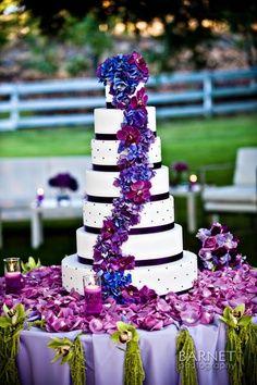 Wedding ● Cake ●  Purple Love Love the flowers going down the cake
