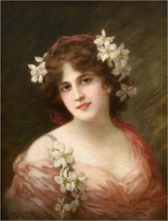 Vintage woman with flowers in hair 500.jpg