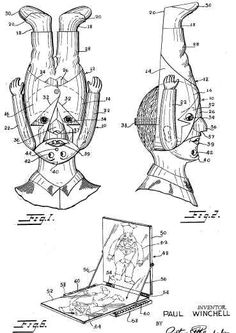 """Paul Winchell was a great inventor as well as ventriloquist. And the following pictures show you that he made every effort to protect his ideas. These are the drawings that he used to secure his patent for the Oswald mask.  He was granted patent # 3,129,001 in 1964 for an """"inverted novelty mask""""."""