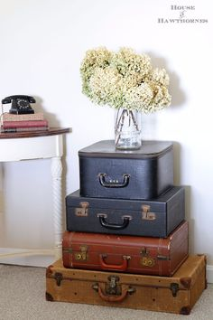 DIY Farmhouse Style Decor Ideas - Vintage Suitcases Display - Creative Rustic Ideas for Cool Furniture, Paint Colors, Farm House Decoration for Living Room, Kitchen and Bedroom Vintage Suitcases, Vintage Luggage, Farmhouse Style Decorating, Farmhouse Decor, Farmhouse Furniture, Cool Furniture, Painted Furniture, Modern Furniture, Furniture Design