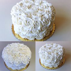 White rose cake with white chocolate buttercream filling