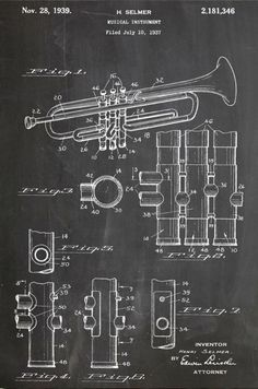 H. Selmer Trumpet Patent 1937