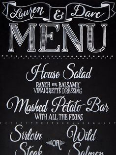 Create a chalkboard menu to let guests know what will be served at ...