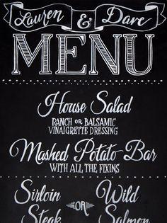 Chalkboard Menu Lettering   Create a chalkboard menu to let guests ...