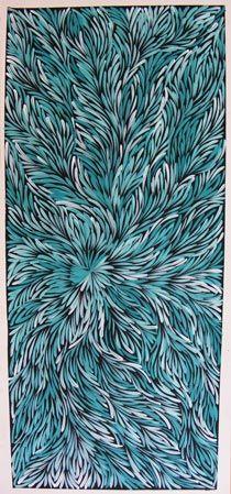 Caroline Numina Pananka : Kurrajong Bush Medicine Leaves - Green (2) 121x53cm - Aboriginal Art Painting - acrylic on canvas