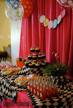 Mad Hatter Party !! love the table cloth!