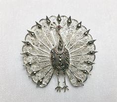 Vintage Broschen - Antike, filigrane 835 Pfauen BroscheTurmalin SB139 - ein…