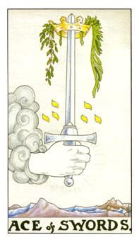 The Ace of Swords is equivalent to Air/Mind and highlights a new idea, inspiration, original thinking and creative vision. It represents a point at which you have a new way of thinking and the energy to go with it. You are excited to pursue new opportunities that draw upon your creative and mental abilities. It signifies a 'break-through' or an 'aha' moment where suddenly conscious understanding and mental reasoning reach a peak and achievement of goals suddenly become a lot easier.-Tami