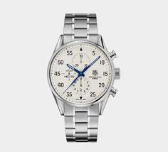 Tag Heuer Carrera SpaceX Chronograph, been wanting a silver watch Best Watches For Men, Luxury Watches For Men, Cool Watches, Gps Watches, Carrera Watch, Best Watch Brands, Jewelry Sites, Elegant Watches, Chronograph