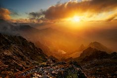sunset in High Tatras mountains High Tatras, Golden Sun, Google Images, Mount Everest, National Parks, Digger, Mountains, Sunrises, World