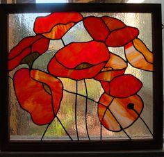 Poppy Oak Framed stained glass panel.