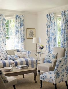 Cottage ● Blue & white living room.... looove everything, but particularly the bold stripes on the sofa!!!!!